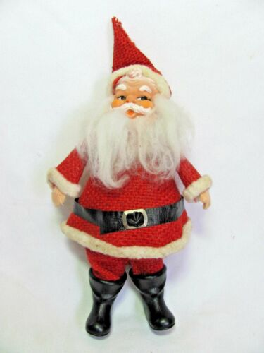 "Vintage Rubber Face Burlap Santa 8"""" Japan"