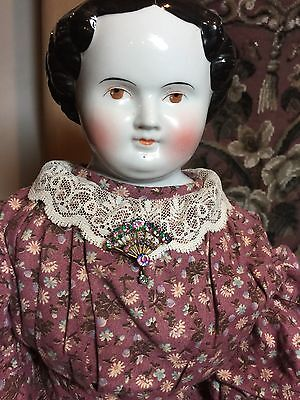 "Antique Brown Eyed China Head Doll 28"" Tall!"