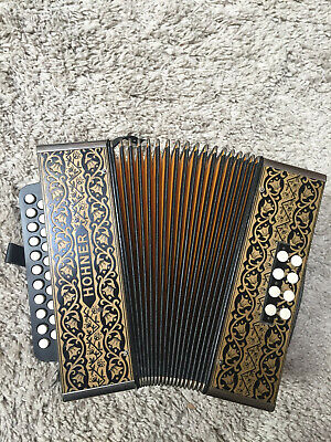 Hohner diatonic 2-row Pokerwork accordion key of C/F, recently tuned & repaired.