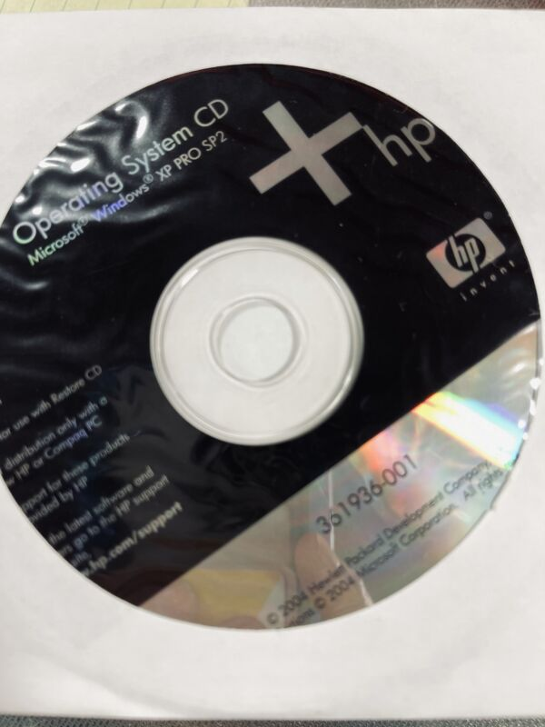 HP Operating System CD Microsoft Windows XP Pro SP2 361936-001