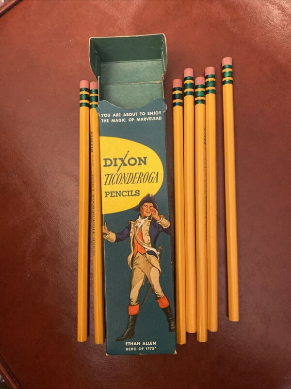 Vintage DIXON TICONDEROGA WOOD PENCILS #3 HARD IN BOX #1388 ETHAN ALLEN