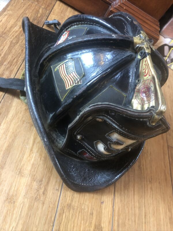 Cairns Brothers Vintage Black Leather Fireman's Helmet BFD