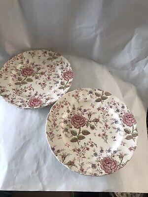 Vintage Johnson Brothers / Bros Rose Chintz 4 X 10inch Dinner Plates