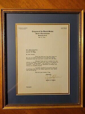 Lyndon B Johnson Autograph On Typed Letter Framed With Accompanying Statement