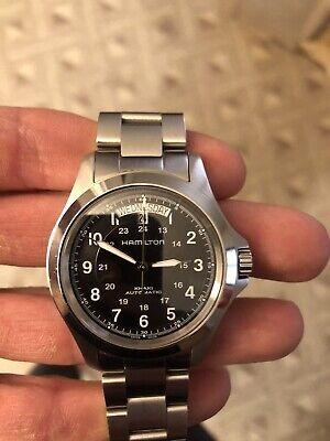 Hamilton Khaki Field Men's Black Watch with box, papers, extra strap