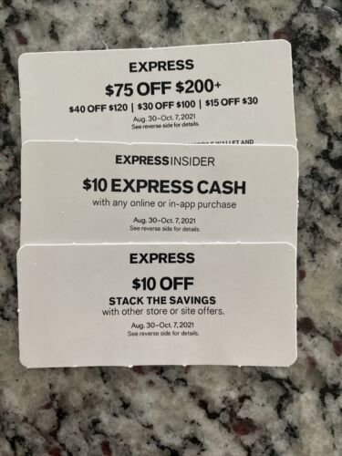 Express Coupons X 3 - EXP Oct7th - 75 Off 10 Off 10 Cash Instore /online - $4.50