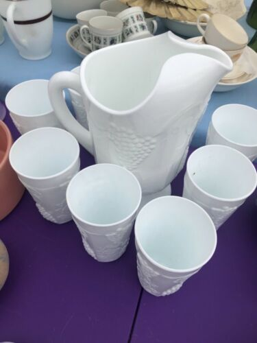 Milk Glass Pitcher and 8 Tumblers