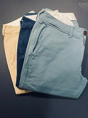 Abercrombie and Fitch Pants Mens 30x30 Chinos Lot of 3 Stretch Navy Khaki Green