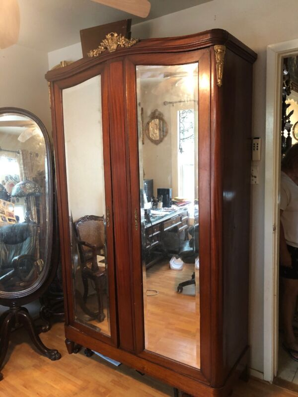 Antique French Two Door W Mirrors Armoire