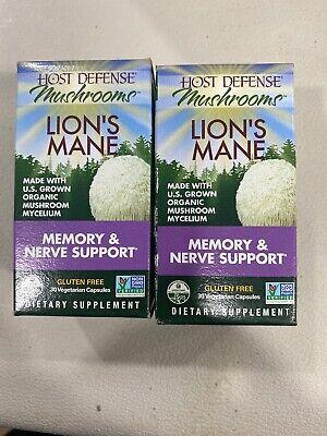 2 PACK- Host Defense Mushrooms- Lion's Mane Memory & Nerve Support 30 Capsules