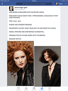 HAIR MODELS REQUIRD FOR GLOBAL HAIR COMPANY EVENT GOLD COAST Windsor Brisbane North East Preview