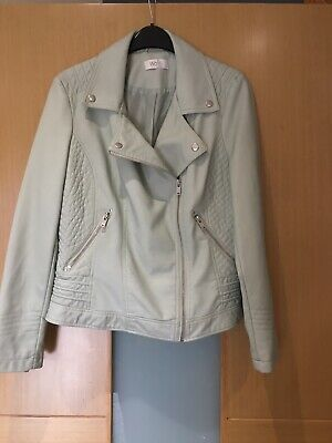 Ladies Wallis Pale Mint Green Faux Leather Biker Style Jacket Size 12 Petite