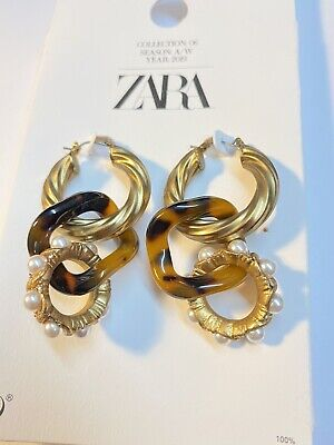New ZARA LIMITED EDITION TORTOISESHELL AND PEARL HOOP EARRINGS  F5 RE:1856/509