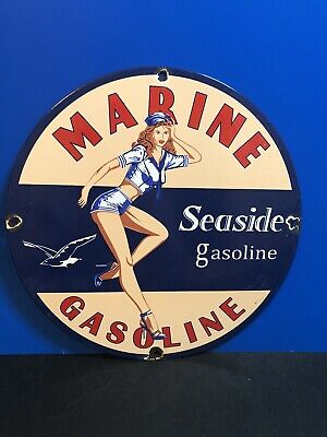 VINTAGE PORCELAIN MARINE SEASIDE GASOLINE AND OIL SIGN