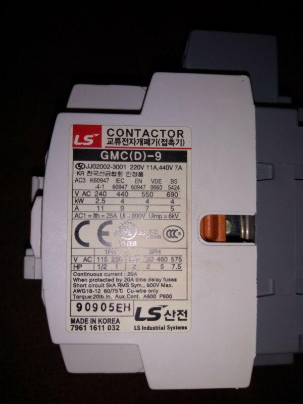 META LS MEC CONTACTOR 220V COIL GMC(D)-9 GMC-(