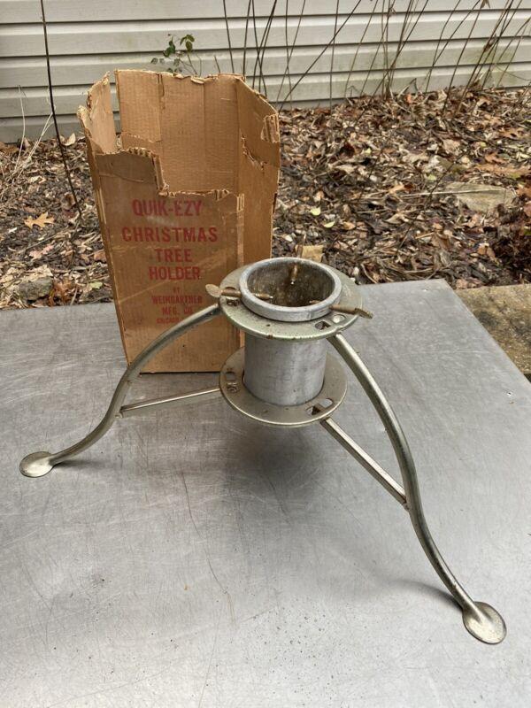 Vintage Weingartner Aluminum QUIK EZY Folding Christmas Tree Holder Stand Box