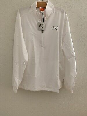 new mens puma 1/2 zip wind jacket, white, large, msrp $70.00