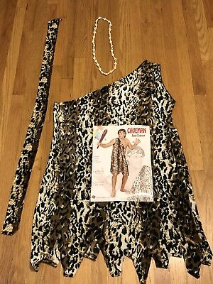 Caveman Men's Adult Halloween Costume and Headband and Necklace SZ Med/Large EUC