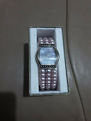 Honora Stainless Steel Pink Pearl Strap Watch
