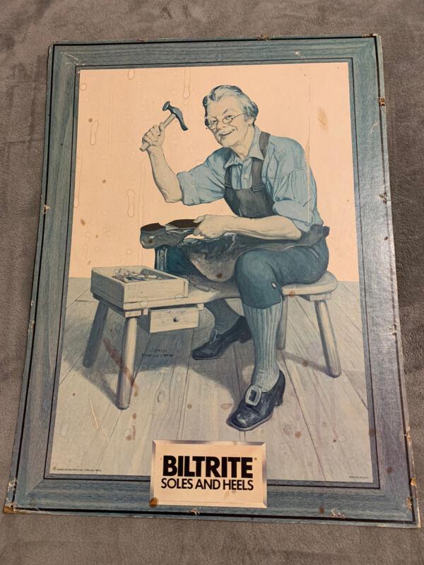 """Vintage Biltrite Soles and Heels Easel back Cardboard Sign 23"""" x 17"""" Size"""