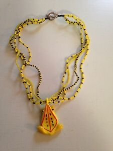 Yellow & black frog necklace