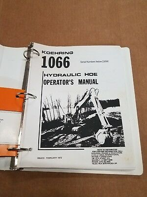 Koehring 1066 Hydraulic Excavator Operators Manual And Parts Book Manual
