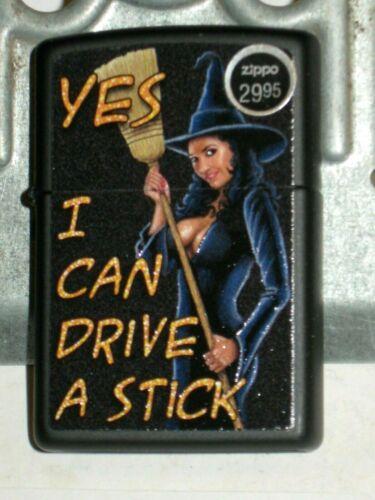 New Genuine US ZIPPO Windproof Lighter 45864 Broom I Can Drive A Stick Bk Matte