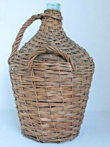"""Vintage Euro Green Glass Demijohn Bottle in Woven Wicker Basket 20 1/2"""" tall"""