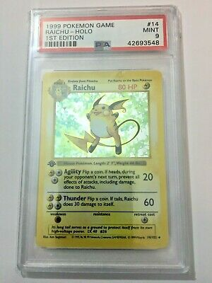 1999 1st Edition Shadowless Raichu PSA 9 Base Set 14/102 MINT Pokemon Holo