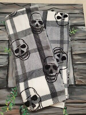 2 HALLOWEEN KITCHEN TOWELS Skull Set two cotton new fall home decor nwot