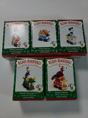 Hallmark Merry Miniatures Mickey Express Train Complete Set of 5 Disney 1998