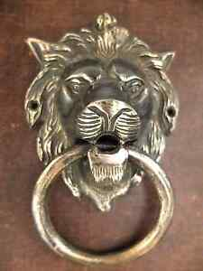 Vintage Antique Style Hand Made Solid Brass Lion Door