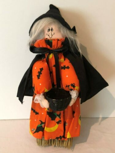 Halloween Witch Broomstick Decoration Wall Hanging Holiday Decor Orange Black