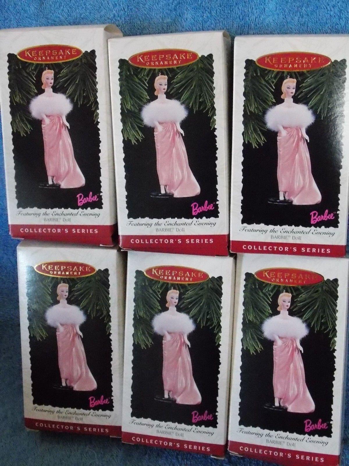 Lot Of 6 New Hallmark Barbie Doll Enchanted Evening Ornaments
