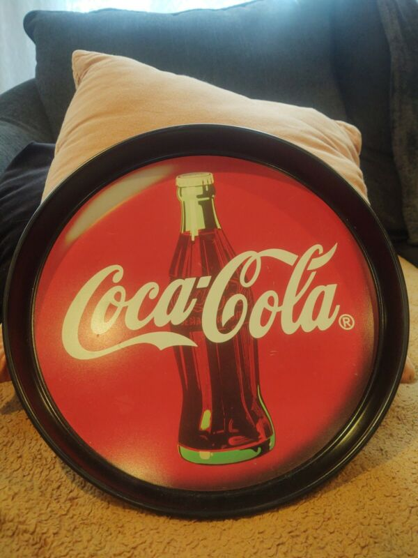 Vintage 1994 Round Tin Coca Cola Bottle Tray Made In USA GUC