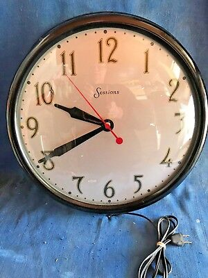 1930s Session Black Bakelite Electric Schoolhouse Office Wall Clock Art Nouveau