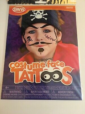 Sacco Costume Face Pirate FACE TATTOOS Halloween Costume