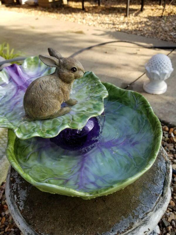Table Fountain Bunny on a Leaf