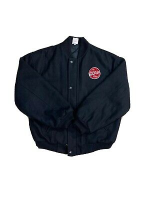 Vintage Rare Black Embroidered The Coca Cola Cup Soccer Jacket Size Large.