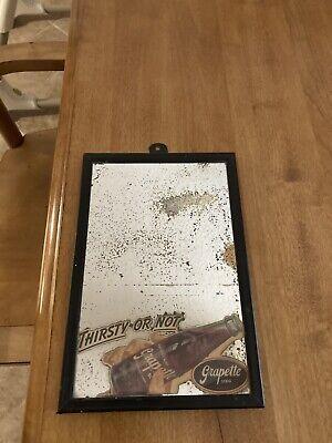 Vintage Grapette Grape Soda Pop Advertisement Mirror Sign w/Frame 6by9 W/damage