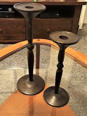 Pair Heavy Hand Made Black Gothic Wrought Iron Candlesticks