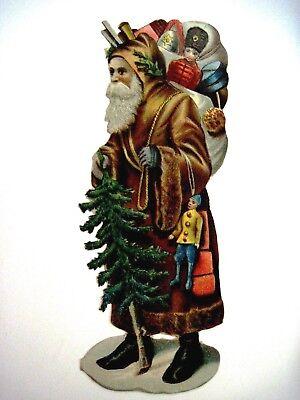Wunderschöne Groß Vintage Weinachten Basteln Schnitt mit / Santa Trägt ein Braun