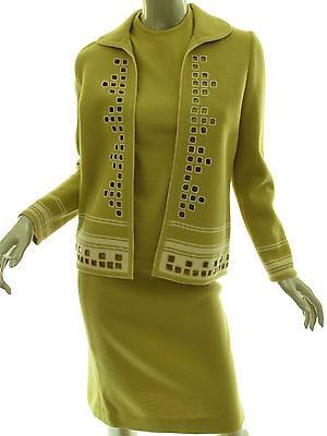 Vintage 60s 3 Pc Suit Mustard Green Wool Knit Skirt Shell Jacket Womens Size 10