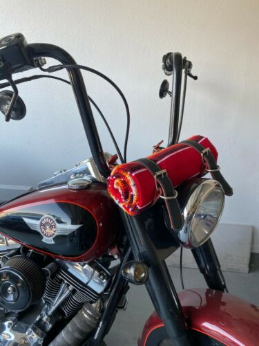 MOTORCYCLE BELT BLANKET HOLDER BIKER, MEXICAN, HAND MADE, REAL LEATHER, RED