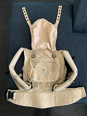 Original Ergo Baby Carrier Canvas Khaki Tan Brown 7-45 Lbs With Head Covering