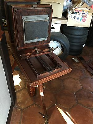 Antique 1870's Photographic Studio Camera with Crank Hand Crank Iron Wood Tripod