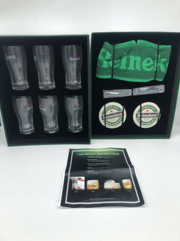 Heineken Collector's Box w/ 6 Glasses, Coasters, Towel, Stirrer, Drink Guide