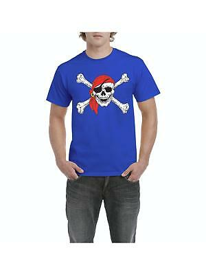 Pirate T-Shirt Jolly Roger Skull Crossbones  Mens Shirts - Mens Pirate Shirts
