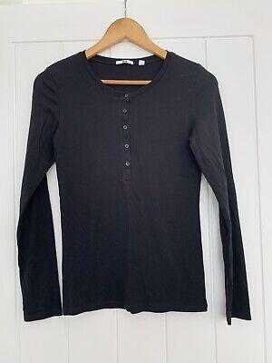 Uniqlo Black Button Front Top Size S