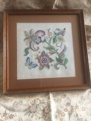 Vintage Needlepoint Tapestry Floral Picture Framed And Mounted
